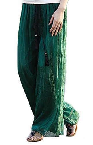 YAELUCKY Women Elastic Waist Retro Vintage Dress Silk Chiffon Pants Long Maxi Skirt (dark green) (Maxi Silk Chiffon Dress)