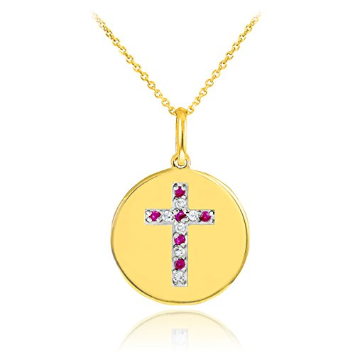 14k Gold Cross Diamond and Ruby Disc Pendant Necklace (18 Inches)
