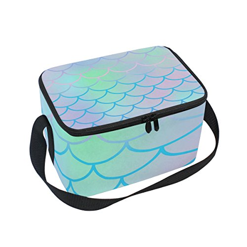 Use4 Pale Fish Scale Mermaid Insulated Lunch Bag Tote Bag Co