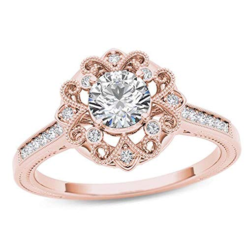 Dividiamonds 18K Rose Gold Over Sterling Silver Simulated Diamond Solitaire W/Accents Filigree Ring (10)