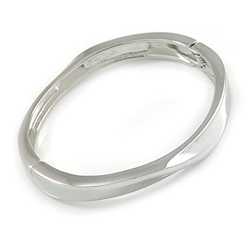 19cm L Avalaya Silver Plated Clear Crystal Twist Hinged Bangle Bracelet