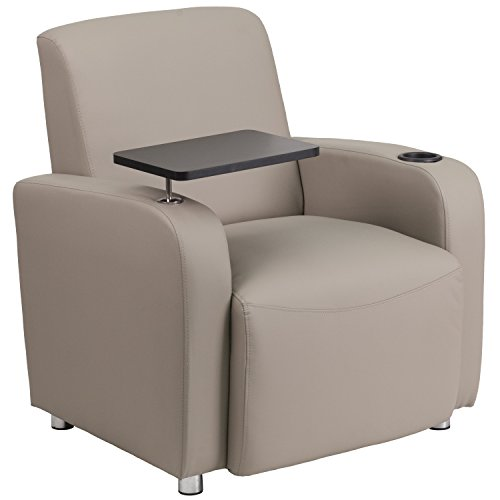 - Flash Furniture Gray Leather Guest Chair with Tablet Arm, Chrome Legs and Cup Holder