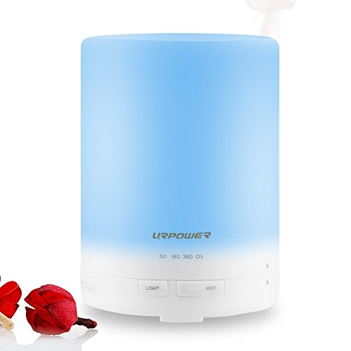 300ml Aroma Essential Oil Diffuser,URPOWER® Ultrasonic Air Humidifier with AUTO Shut off and 6-7 HOURS Continuous Diffusing - 7 Color Changing LED Lights and 4 Timer Settings for Home SPA Baby Room