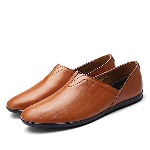 Leather uomo Slip PU on minimaliste Color Mocassini leggeri 37 Meimei shoes EU da Scarpe Dimensione Fashion Mocassini Red Brown YwxtBtXqHS