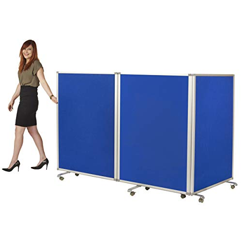 ECR4Kids Mobile Flannel 3-Panel Room Divider, Double-Sided Partition for use in Classrooms, Preschools, Gyms and Offices, Easy to Assemble, 4 Feet Tall, Blue