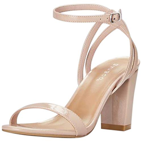 - David's Bridal Patent Sandals with Strappy Back Style STRIKING04S, Nude, 6