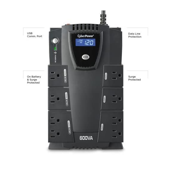 CyberPower CP600LCD Intelligent LCD UPS System, 600VA/340W, 8 Outlets, Compact 2 825VA/450W Intelligent LCD Battery Backup Uninterruptible Power Supply (UPS) System 8 NEMA 5-15R OUTLETS: (4) Battery Backup & Surge Protected Outlets, (4) Surge Protected Outlets safeguard desktop computers, workstations, networking devices and home entertainment equipment MULTIFUNCTION LCD PANEL: Displays immediate, detailed information on battery and power conditions, including: estimated runtime, battery capacity, load capacity, etc.