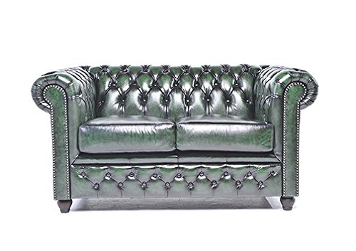 Original Chesterfield Sofa   2 Seater   Full Real Hand Washed Leather    Antique Green