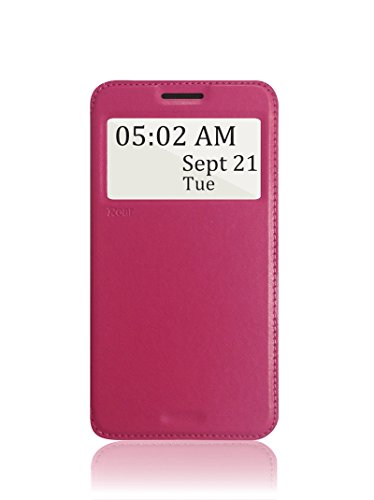 Roar [Noble View]- Ultra Fit Leather Folio Flip Wallet Stand View Case with Magnetic Flap for Samsung Galaxy Mega 2 G7508 (Rosy)