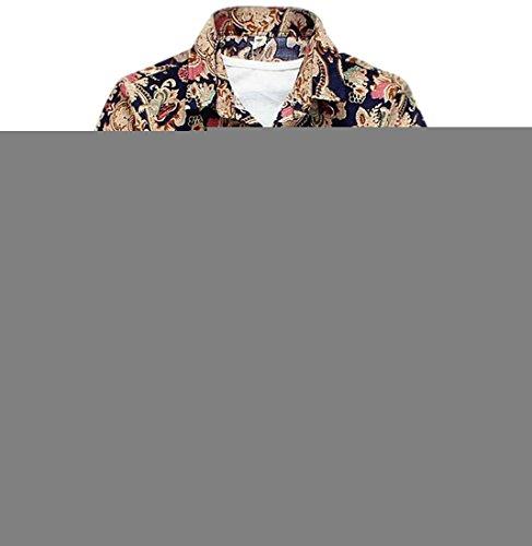 TM Men's Casual Flower Print Slim Fit Short Sleeve Dress Shirt XXL Color4