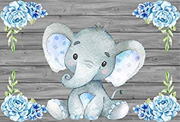 Leacco Elephant Calf Photo Background 8x6.5ft Photography Backdrops Pale bluee Watercolor Flowers Wooden Backdrop Kid Audults Baby Pohoto Portrails Artistic Studio Props