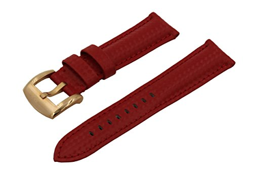 olors Quality Genuine Leather Carbon Fiber Emboss Watch Band Strap - Red ()