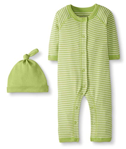 Moon and Back by Hanna Andersson Baby Snap Front One-Piece Organic Cotton Long Sleeve Romper with Cap Set, Lime Green, - Front Baby Snap Boys
