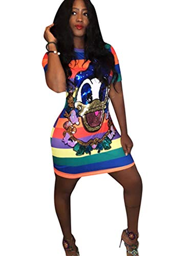 Women Sexy Print Sequin Bodycon Short Party Club T Shirt Mini Dresses Duck XL