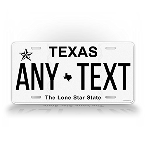 SignsAndTagsOnline Texas Personalized License Plate Customized Auto Tag Any Text TX 6x12 Aluminum Sign ()