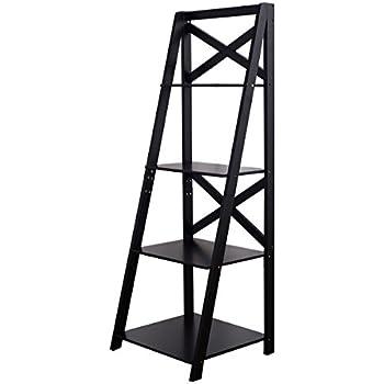 Tangkula 4-Tier Ladder Bookcase Leaning Home Office Decor Bookshelf Storage