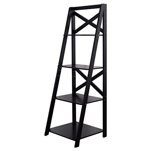 New Black 4-Tier Ladder Shelf Bookshelf Bookcase Storage Display Leaning Home Office Decor - Hanger Style Double Sided Floor