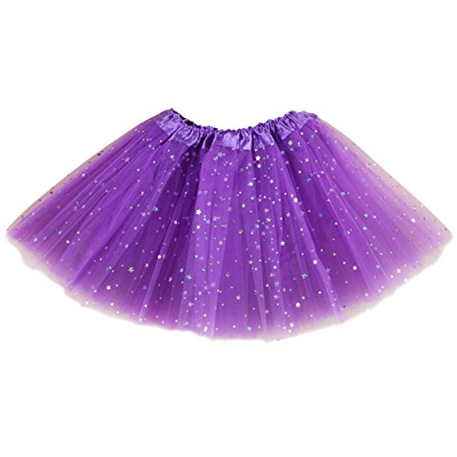 Jastore Girls Layered Stars Sequins Tutu Skirt Princess Ballet Dance Dress (Purple) -