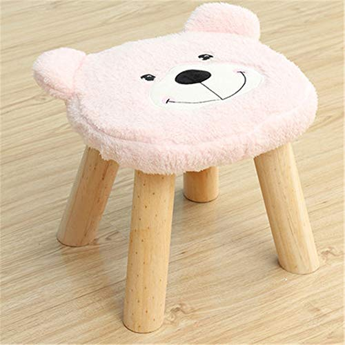 Modern Minimalist Leisure Stools Cute Household Decoration Wooden Stools With Plush Fabrics Cover Wood Low Stools Ottoman Footstool Round Chair Stool Cute Bear Cartoon Shape For Children For Kitchen - Bear Footstool Plush