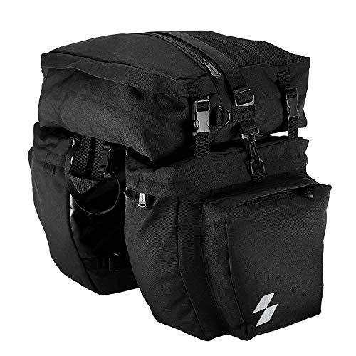Sahoo Bike Rack Pannier Bag 3 in 1 Rear Rack Carrier Trunk Bag, Water Resistance 37L Large Capacity Bike Rear Panniers