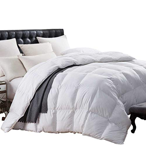 (QUEEN Size SUPER LUXURIOUS White Damask Stripe 1200 Thread Count Siberian Goose Down Comforter, Baffle Box Design, 100 Percent Egyptian Cotton, 1200 TC, 750FP, 50Oz, White Damask Stripe Style)