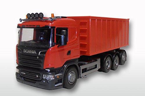 EMEK EM20805 - Scania R, rote Kabine, 4 Achsen, mit Abrollmulde groß, blau, Maßstab 1:25