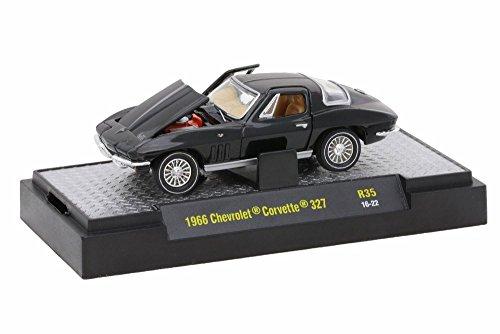 1966 Chevy Corvette - 1966 Chevy Corvette 327, Glossy Black - M2 Machines Detroit Muscle 32600-35 - 1/64 Scale Diecast Model Toy Car