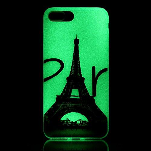 iPhone 7 / 8 Plus Hülle mit Fluoreszenz , Modisch Turm Transparent TPU Silikon Schutz Handy Hülle Handytasche HandyHülle Etui Schale Schutzhülle Case Cover für Apple iPhone 7 / 8 Plus