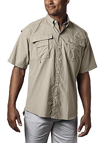 (Men's Outdoor Sun UV Protection Breathable Quick Dry Nylon Short Sleeve Fishing Shirt #5016-Khaki-M)