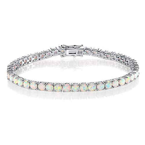 GEMSME 18K White Gold Plated 4.0 Round Opal Tennis Bracelet for Women