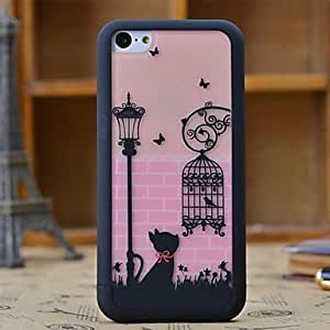 LJF phone case ZLXUSA (TM) Lovely Cat and Birdcage Pattern 3 in 1 Detachable Hard Case for iPhone 5C