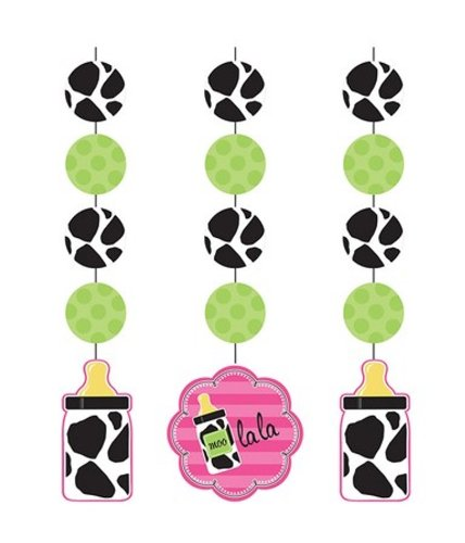 Creative Converting Baby Girl Cow Print Hanging Cutout Party Decorations, 3-Count (Cow Girl Party Decorations)