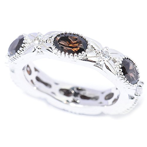- V3 Jewelry Sterling Silver 2.65cttw Oval Smokey Quartz and White Topaz Eternity Band Ring