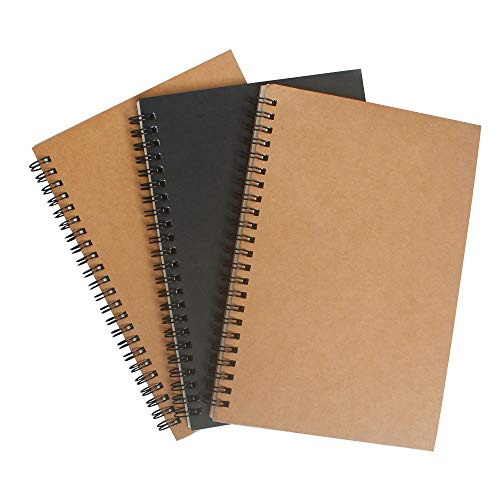 Unlined Blank Black Cover - Spiral Notebook Sketch Book with Blank Page 3 Packs Kraft Cover Notebooks 50 Sheets / 100 Pages Unlined White Paper 5