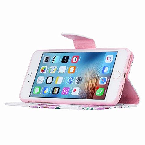 Custodia Apple iPhone 7 Pro Cover Case, Ougger Portafoglio PU Pelle Magnetico Stand Morbido Silicone Flip Bumper Protettivo Gomma Shell Borsa Custodie con Slot per Schede, Design 8