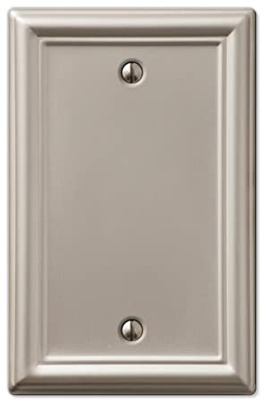 Brushed Nickel AmerTac 149DBN Chelsea Steel Single Duplex Wallplate