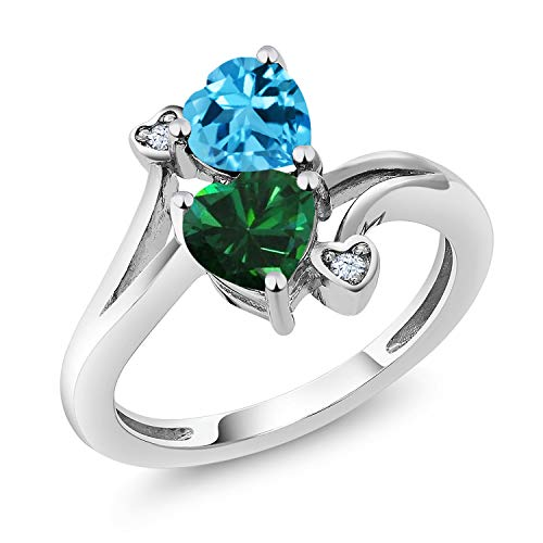 Gem Stone King 925 Sterling Silver Swiss Blue Topaz and Green Simulated Emerald Women's Ring 1.66 Ctw Heart Shape (Size 5)