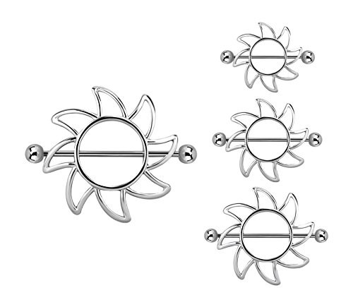 ields in 316L Stainless Steel - Sold as a Pair - Available in Multiple Sizes (14mm) (Tribal Sun Nipple Shield)