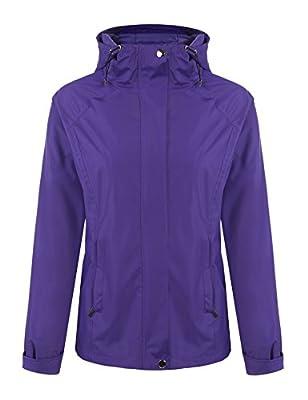 Meaneor Women's Long Sleeve Zip Up Hoodie Waterproof Rain Jacket Venture Jacket
