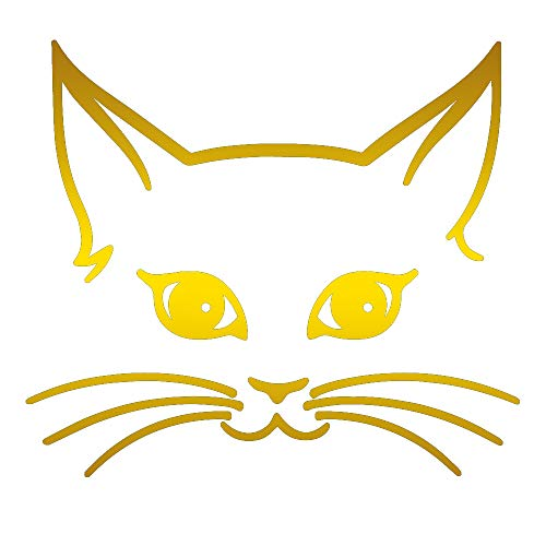 (ANGDEST Girly CAT FACE (Metallic Gold) (Set of 2) Premium Waterproof Vinyl Decal Stickers for Laptop Phone Accessory Helmet Car Window Bumper Mug Tuber Cup Door Wall)