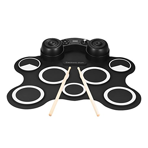 - Kalaok Portable USB Stereo Digital Electronic Drum Kit Set 7 Silicon Drum Pads Built-in Double Speakers Supports Recording Function with Drumsticks Foot Pedals