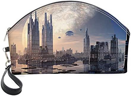 Half Moon Cosmetic Beauty Bag,Spacecraft in Formation Futuristic Alien City on Water Huge Planet in The Backdrop for Women & Girls School Travel Office