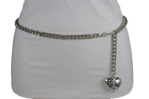 TFJ Women Fashion Skinny Belt Narrow Hip High Waist Silver Metal Chain Love Heart Buckle M L XL by Trendy Fashion Jewelry