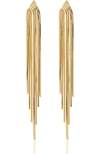 Long Drop Sleek Chain Tassel Earrings by Lovey Lovey (Gold) by LoveyLovey