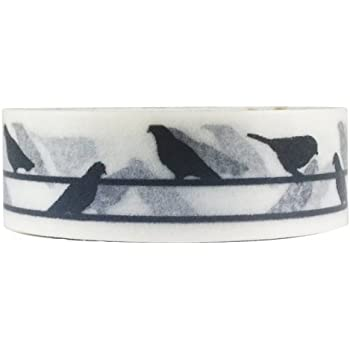 Wrapables Floral & Nature Japanese Washi Masking Tape, Bird on a Wire