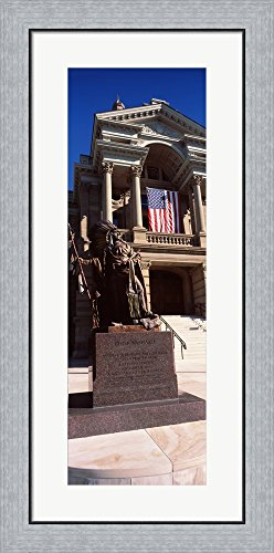 Statue at Wyoming State Capitol, Cheyenne, Wyoming, USA by Panoramic Images Framed Art Print Wall Picture, Flat Silver Frame, 17 x 35 inches