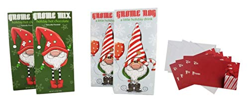 Gnome Nog And Hot Chocolate Mix, Cocoa Powder Gift For Christmas Holiday, 2.5 Oz. Packages W/Gift Tags (2 - Gnome Nog and 2 - Gnome Mix, 4 Pack) ()