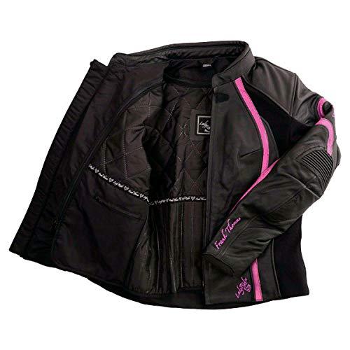 8 Frank Thomas FTL322 Elegance Ladies Leather Motorcycle Jacket Black Pink J/&S