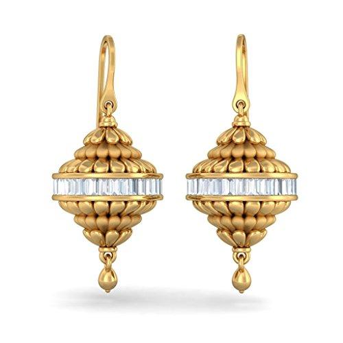 Or jaune 18K 1.4CT TW Round-cut-diamond (IJ | SI) Pendants d'oreilles