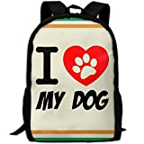 OIlXKV I Love My Dog Print Custom Casual School Bag Backpack Multipurpose Travel Daypack For Adult